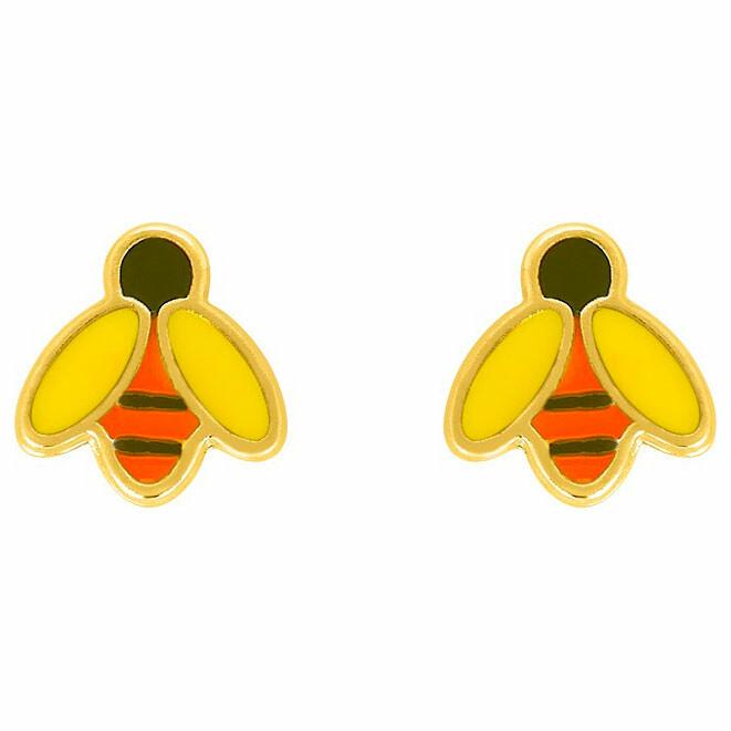 Photo de Boucles d'oreilles abeille - Vis - Or jaune 9ct