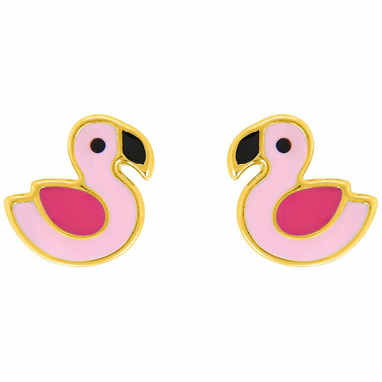 Photo de Boucles d'oreilles flamant rose - Vis - Or jaune 18ct