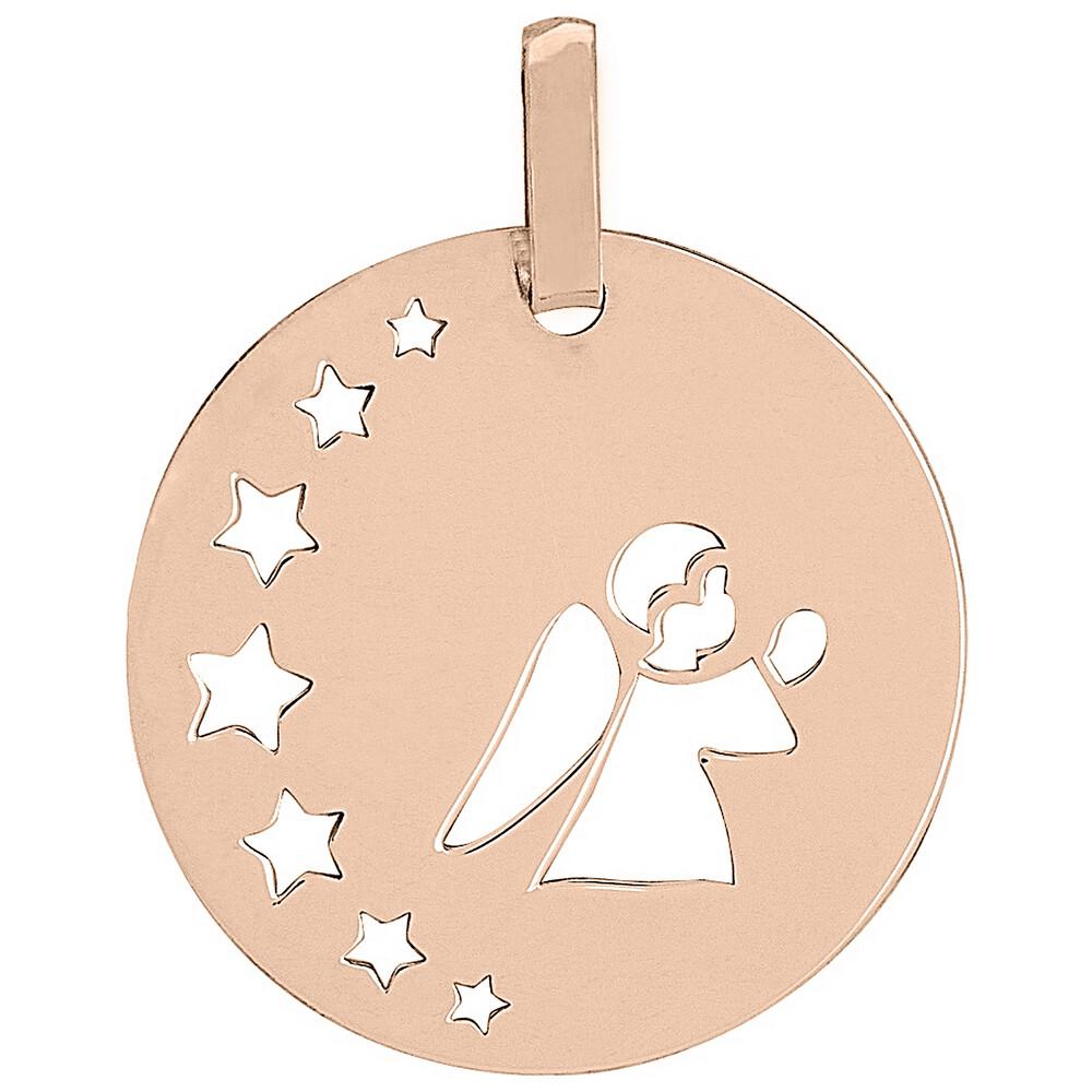 Photo de Médaille petit ange aux étoiles - Or rose 18ct