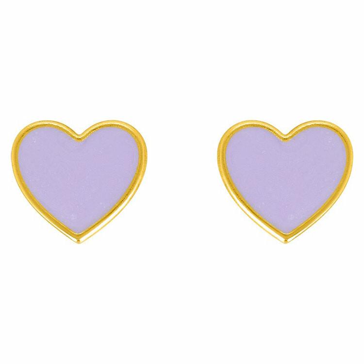 Photo de Boucles d'oreilles coeur violet - Vis - Or jaune 9ct