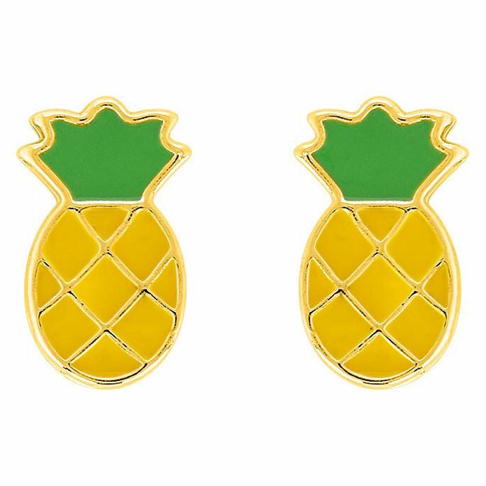 Photo de Boucles d'oreilles ananas - Vis - Or jaune 18ct