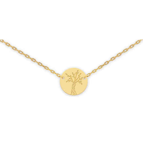 Photo de Collier chaine & médaille Arbre de vie - Or jaune 18ct