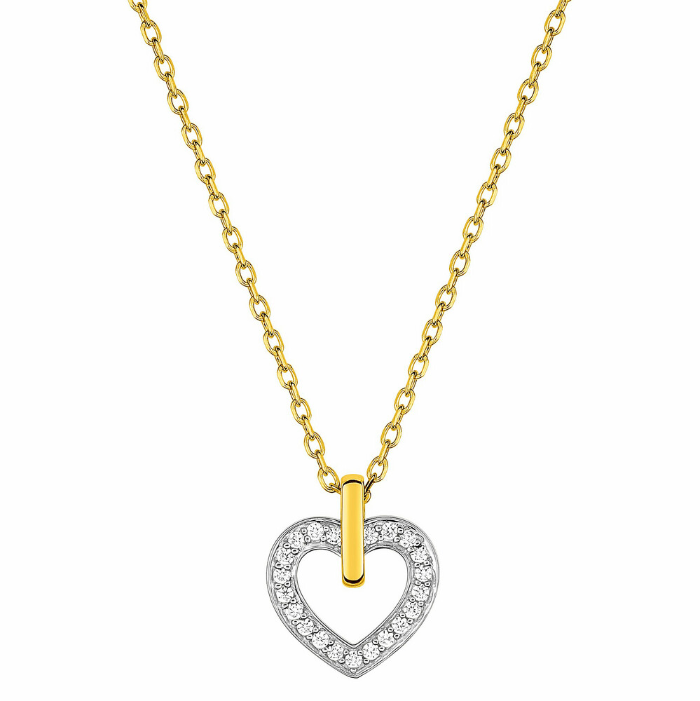 Photo de Collier chaine & coeur oxydes de zirconium - Or jaune 18ct