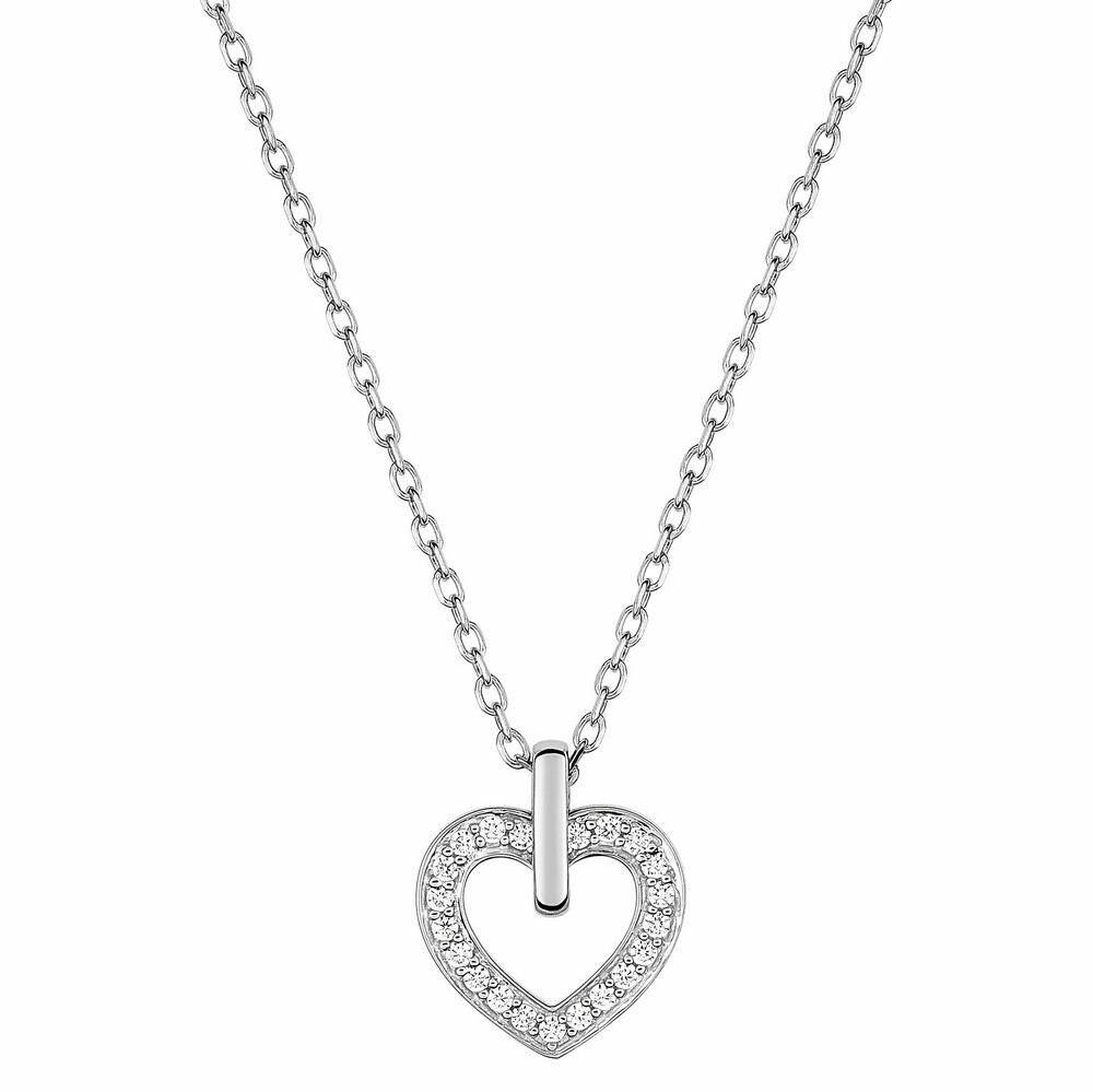 Photo de Collier chaine & coeur oxydes de zirconium - Or blanc 18ct