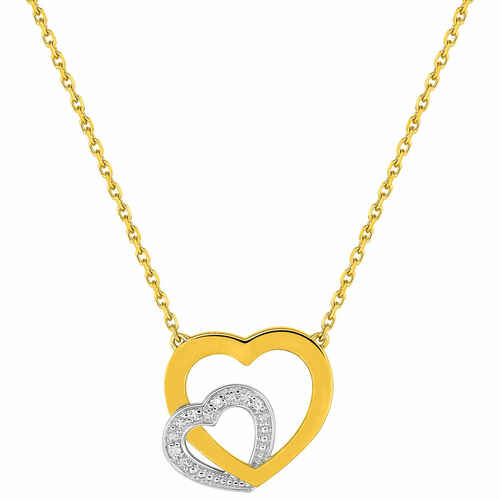 Photo de Collier chaine coeur double - Diamant & Or jaune 18ct