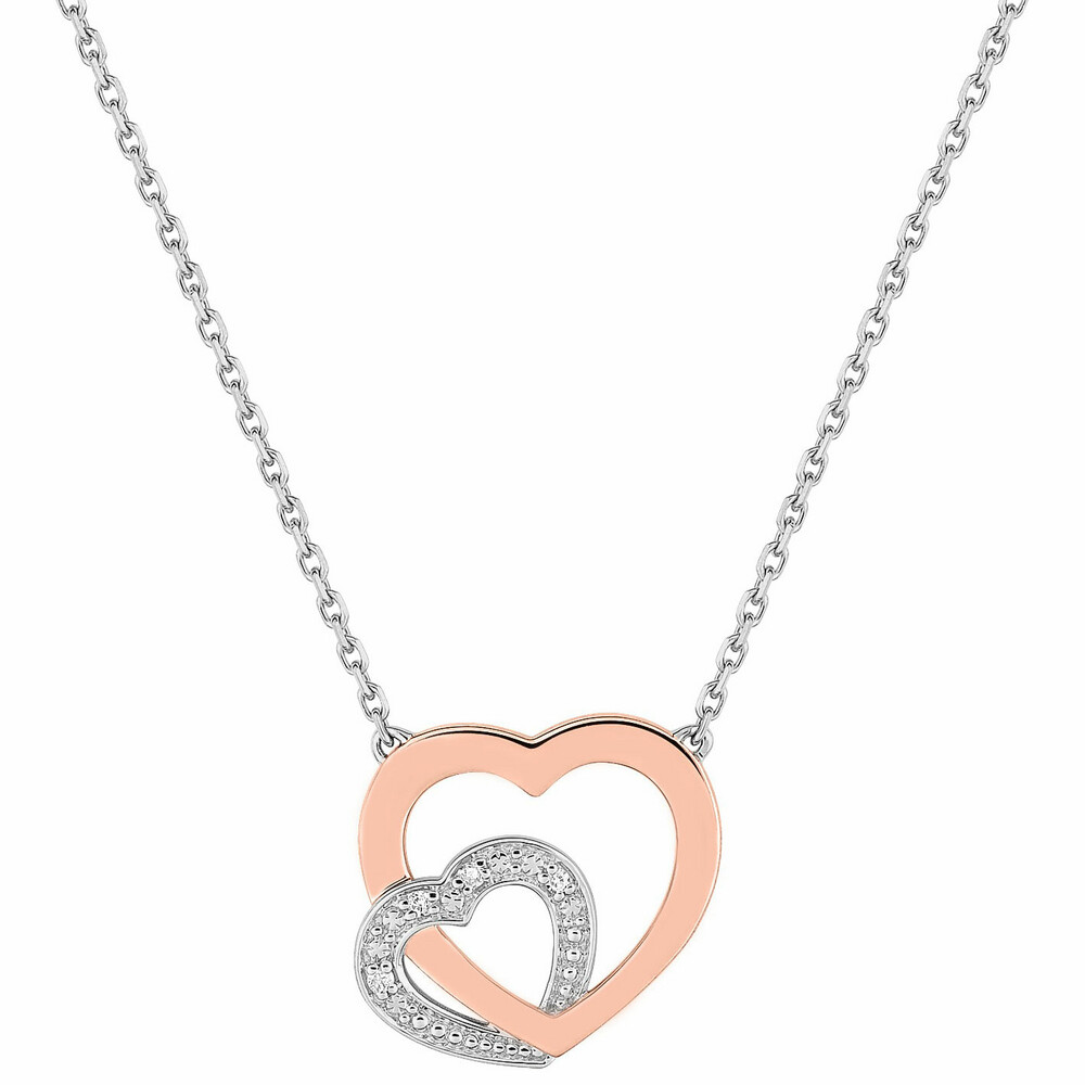 Photo de Collier chaine coeur double - Diamant & Or blanc 18ct
