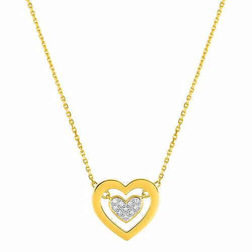 Photo de Collier chaine coeur - Diamant & Or jaune 18ct