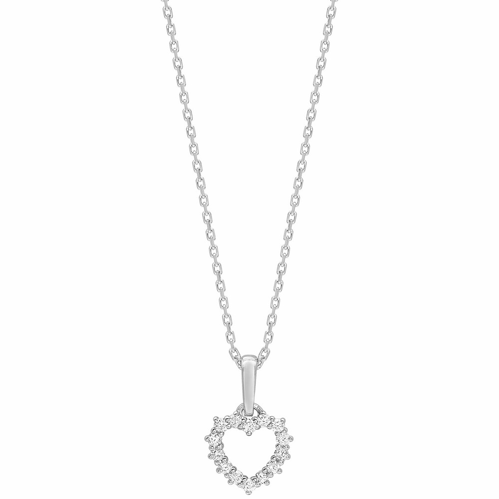 Photo de Collier chaine coeur - Diamant & Or blanc 18ct