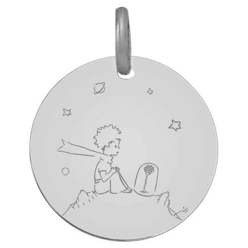 Photo de Médaille Petit Prince à la rose - Or blanc 18ct
