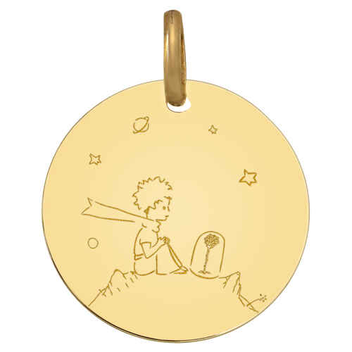 Photo de Médaille Petit Prince à la rose - Or jaune 18ct