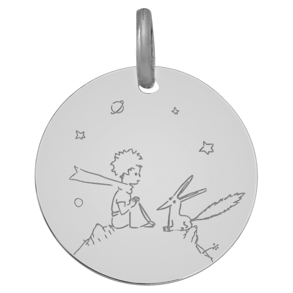 Photo de Médaille Petit Prince au renard  - Or blanc 9ct