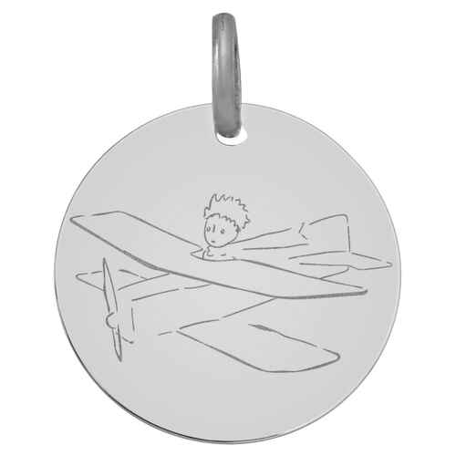 Photo de Médaille avion du Petit Prince - Or blanc 9ct