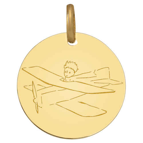 Photo de Médaille avion du Petit Prince - Or jaune 9ct