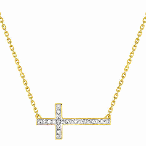 Photo de Collier croix - Diamant & Or jaune 18ct
