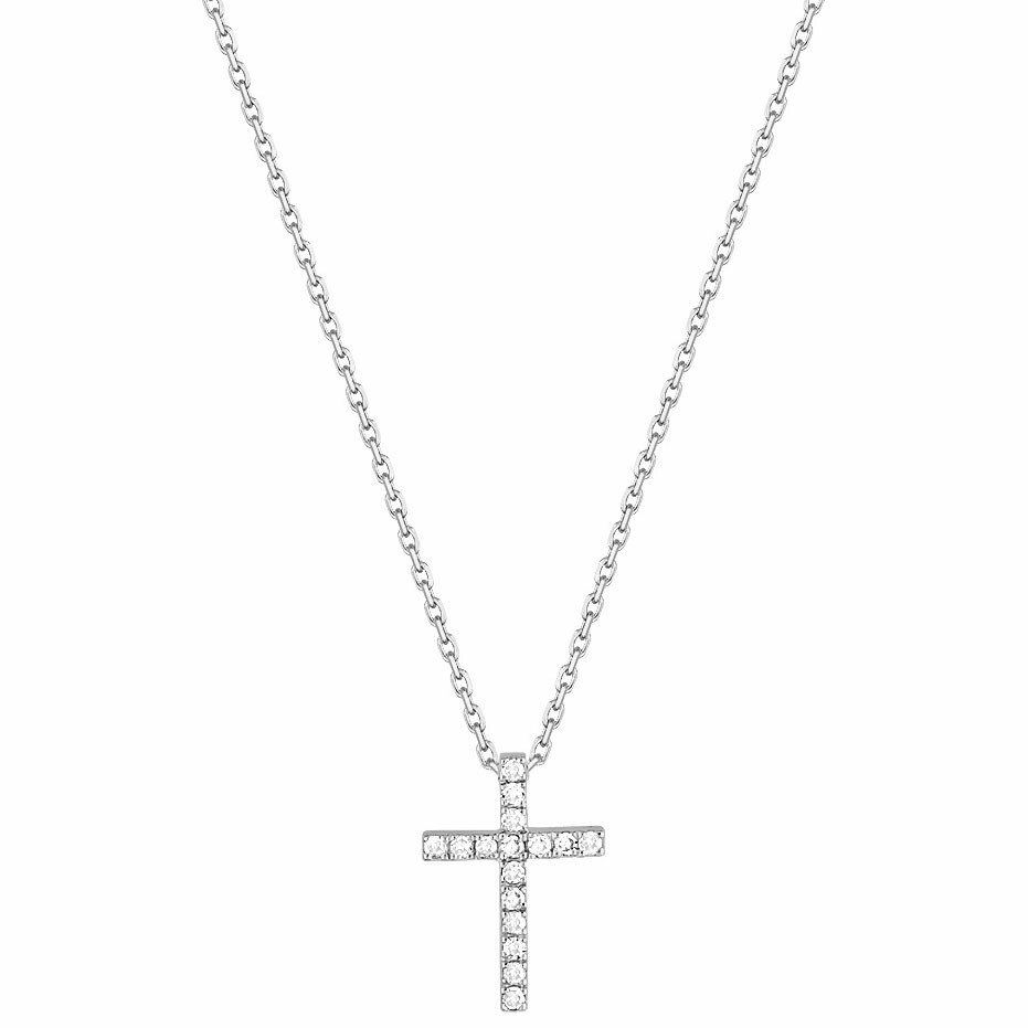 Photo de Collier croix - Diamant & Or blanc 18ct