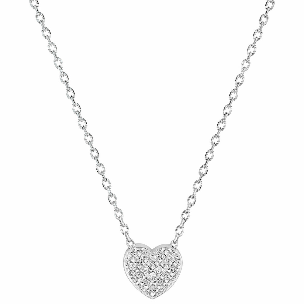 Photo de Collier pendentif coeur brillant - Diamant & Or blanc 9ct