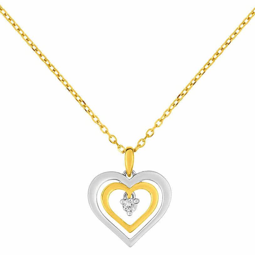 Photo de Collier pendentif double coeur - Diamant & Or jaune 9ct