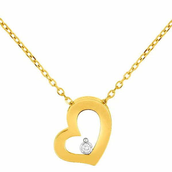 Photo de Collier pendentif coeur - Diamant & Or jaune 9ct