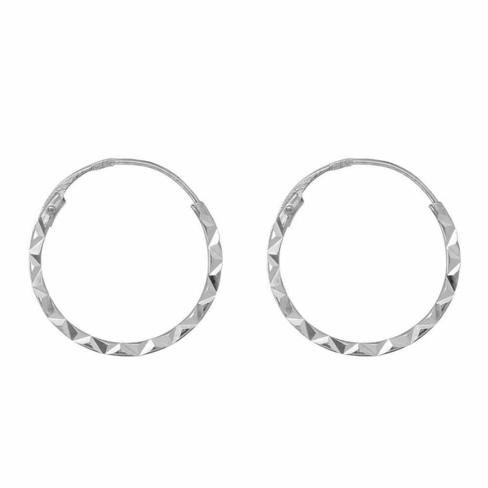 Photo de Boucles d'oreilles créoles ciselées - Vis - Or blanc 9ct