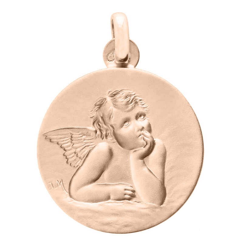 Photo de Médaille Ange ronde - Or rose 18ct