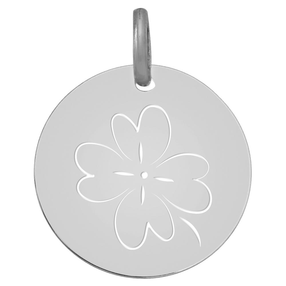 Photo de Médaille Trèfle ajouré - Or blanc 9ct