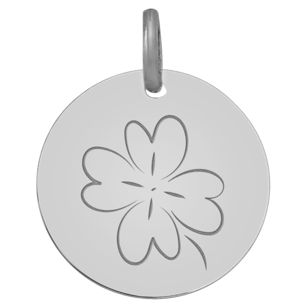 Photo de Médaille Trèfle - Or blanc 18ct