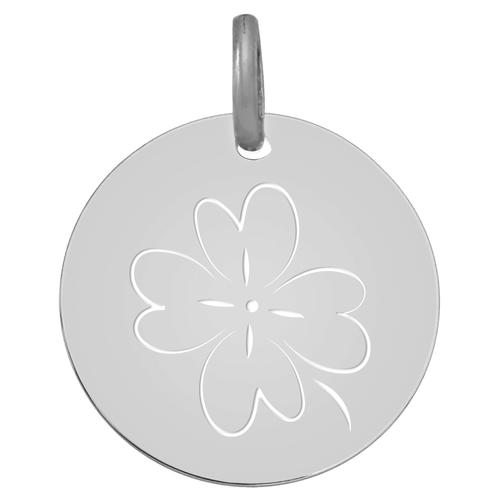 Photo de Médaille Trèfle ajouré - Or blanc 18ct