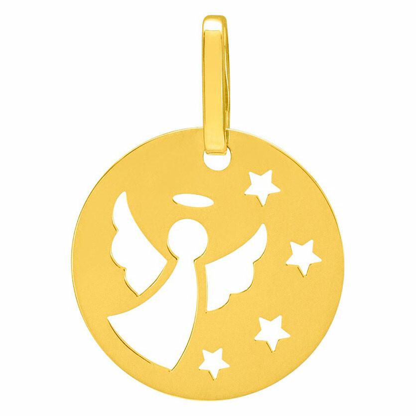 Photo de Médaille ange aux étoiles - Or jaune 9ct