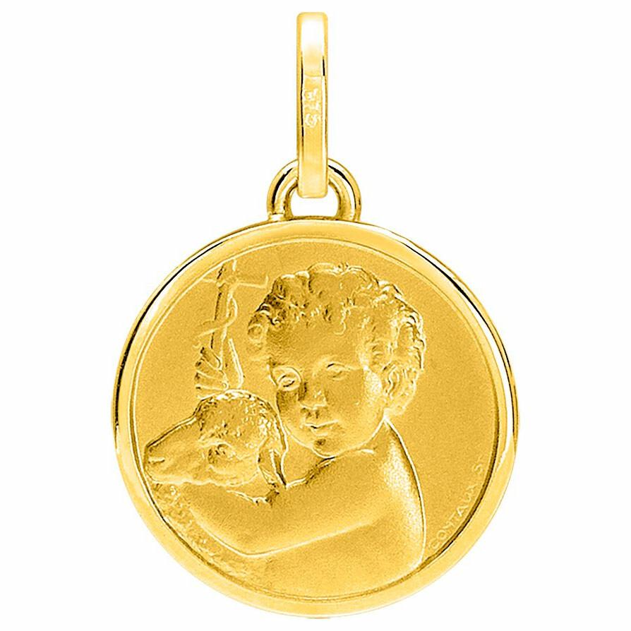 Photo de Médaille Ange à l'agneau - Or jaune 18ct
