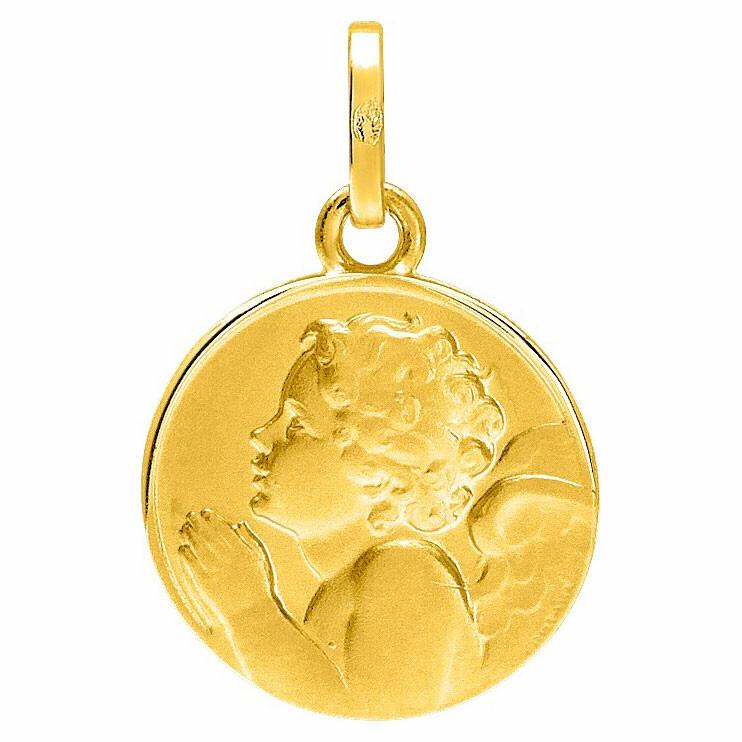 Photo de Médaille Ange en prière - Or jaune 18ct