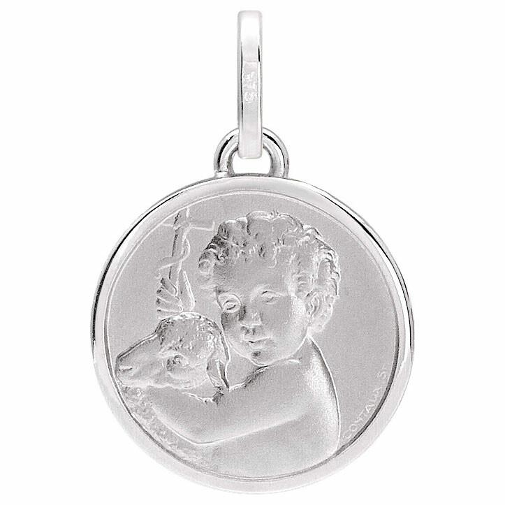 Photo de Médaille Ange à l'agneau - Or blanc 9ct