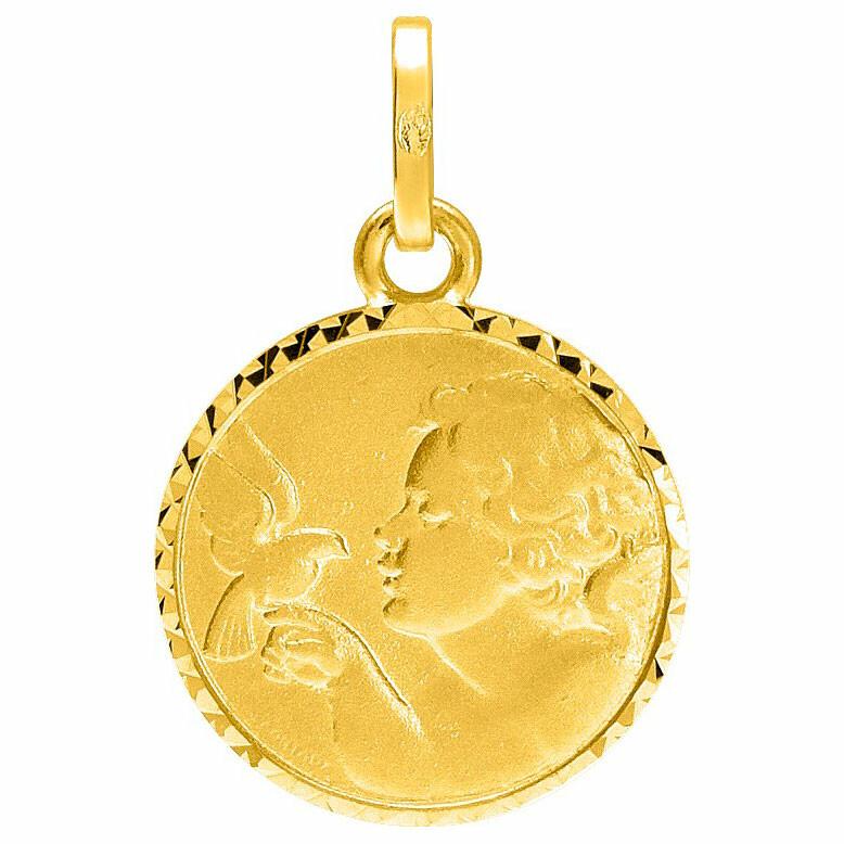 Photo de Médaille Ange à l'oiseau ciselée - Or jaune 18ct