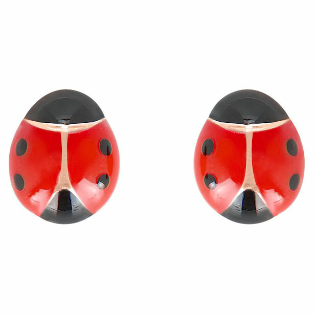Photo de Boucles d'oreilles coccinelles rouges - Vis - Or jaune 9ct
