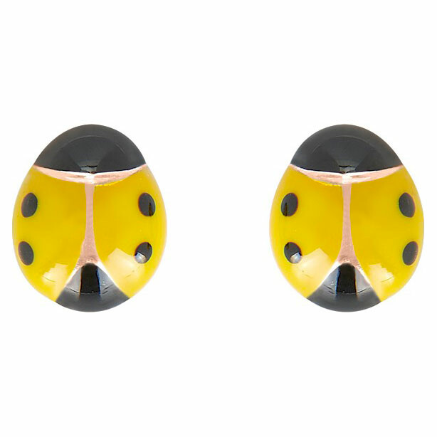 Photo de Boucles d'oreilles coccinelles jaunes - Vis - Or jaune 9ct