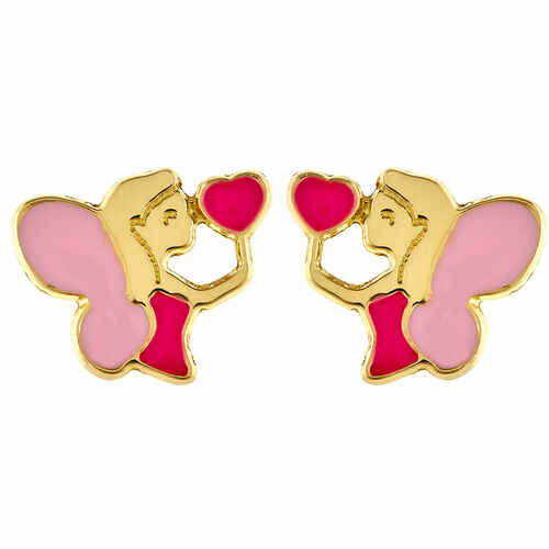 Photo de Boucles d'oreilles fées au coeur - Puce - Or jaune 18ct