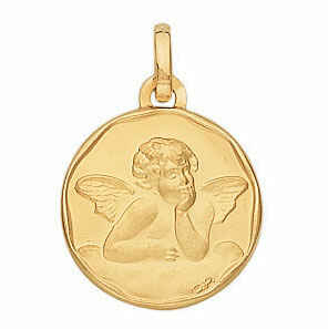 Photo de Médaille Ange pensif - Or jaune 18ct