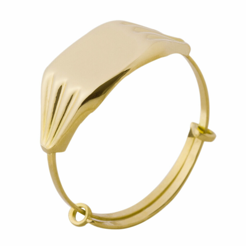 Photo de Bague enfant chevalière - Or jaune 18ct