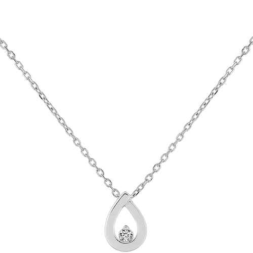 Photo de Collier pendentif goutte - Diamant & Or blanc 9ct