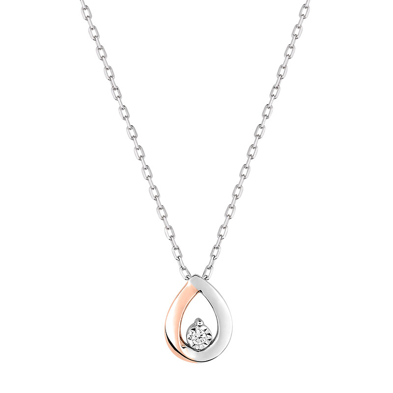 Photo de Collier pendentif goutte - Diamant & Or blanc et rose 9ct
