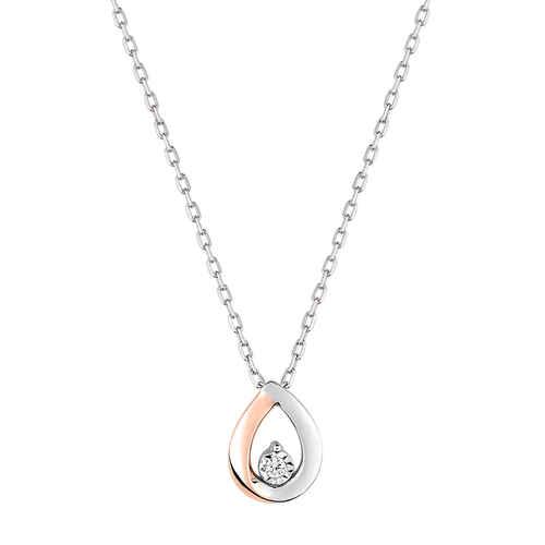 Photo de Collier pendentif goutte - Diamant & Or blanc et rose 9ct