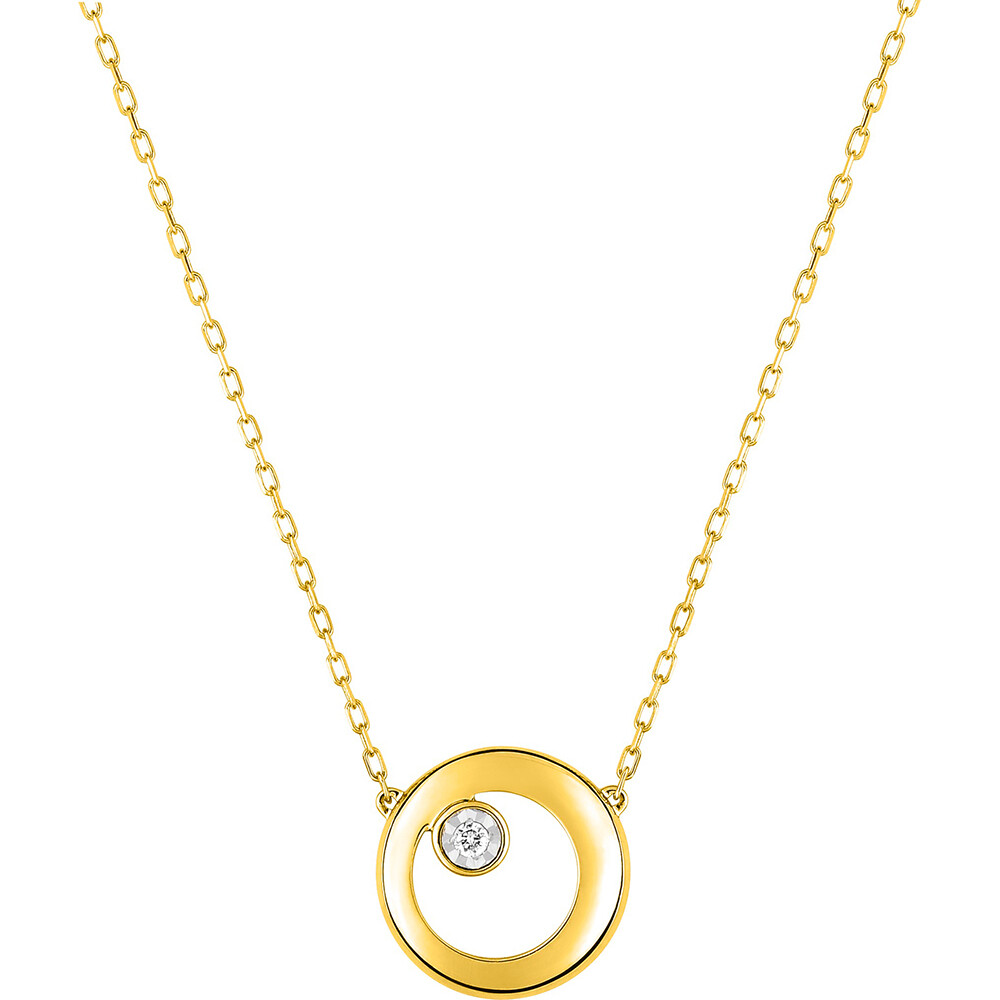 Photo de Collier pendentif ajouré - Diamant & Or jaune 9ct