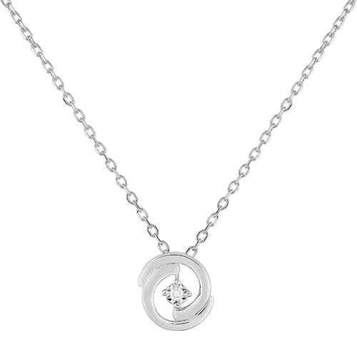 Photo de Collier pendentif duo - Diamant & Or blanc 9ct