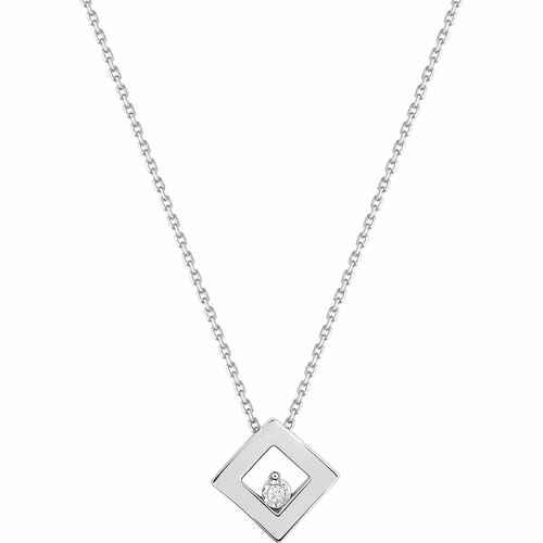 Photo de Collier chaine & pendentif losange - Diamant & Or blanc 18ct