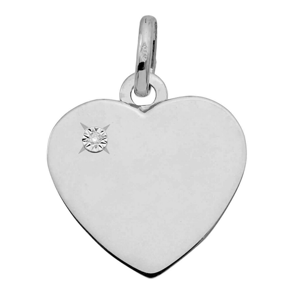 Photo de Pendentif coeur - diamant & or blanc 18ct