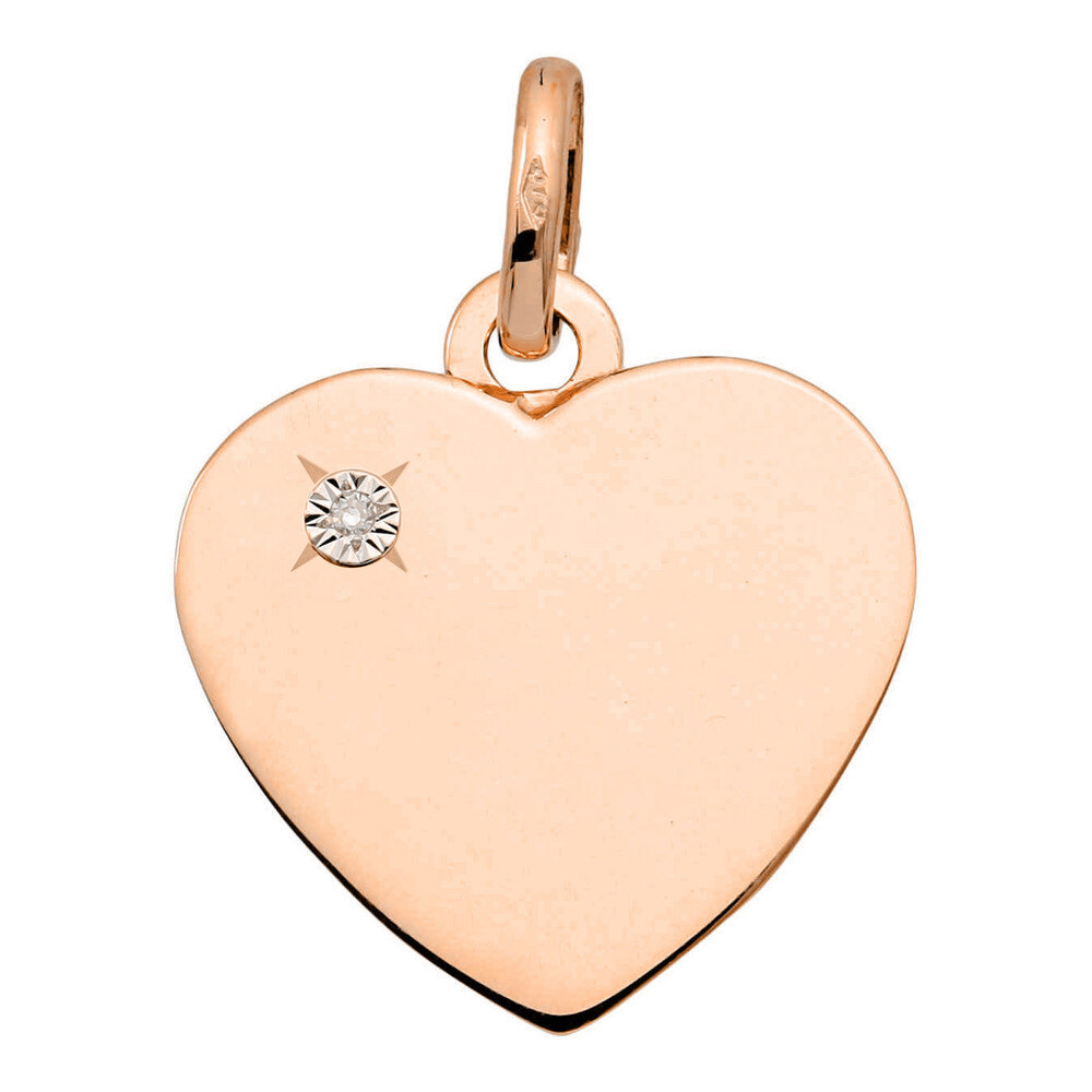 Photo de Pendentif coeur - diamant & or rose 18ct