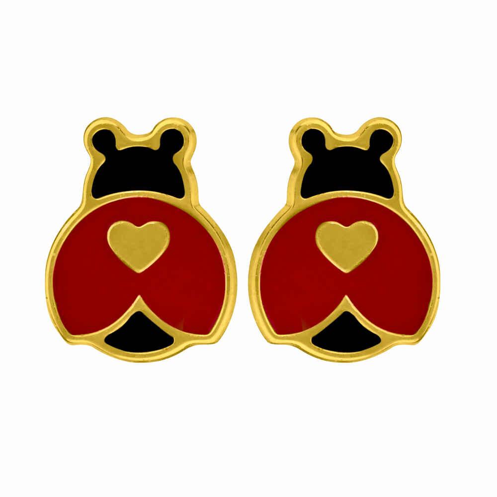 Photo de Boucles d'oreilles coccinelles aux coeurs - Vis - Or jaune 9ct