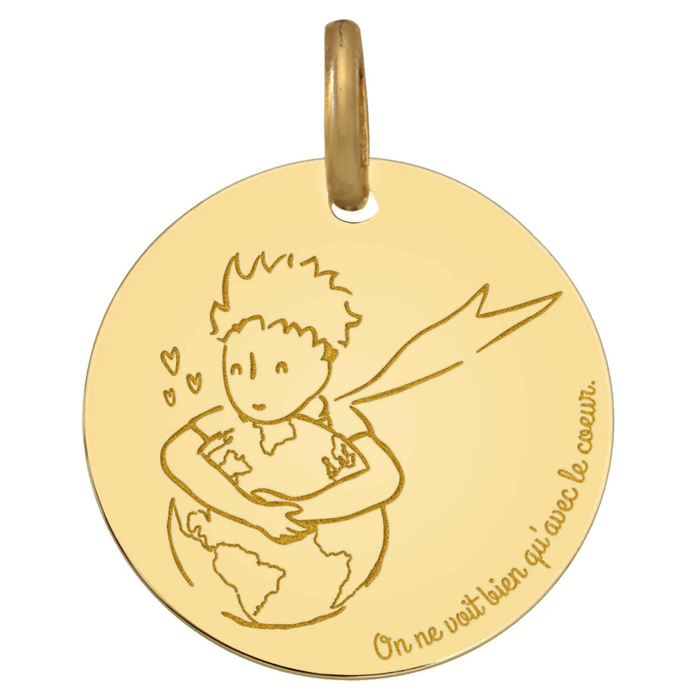 "Photo de Médaille Petit Prince ""save the planet"" - Or jaune 18ct"