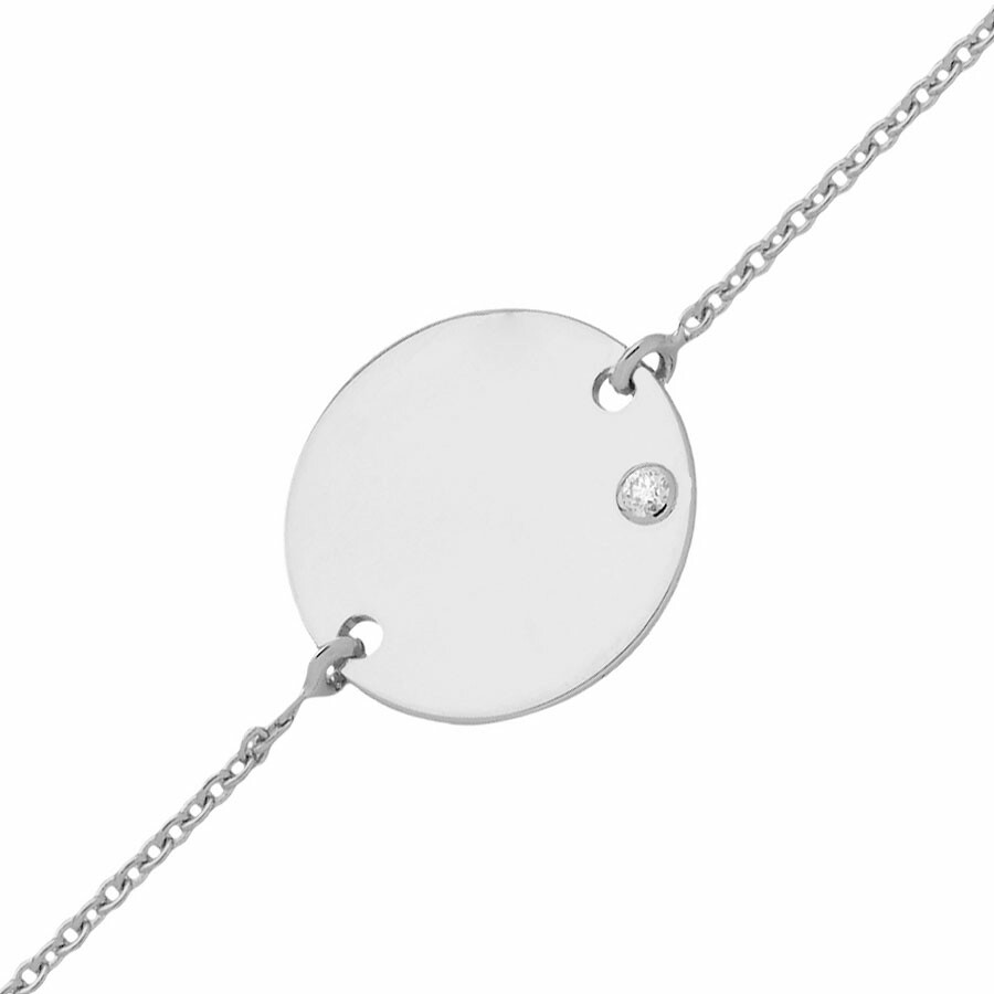 Photo de Gourmette enfant médaille - diamant & or blanc 18ct