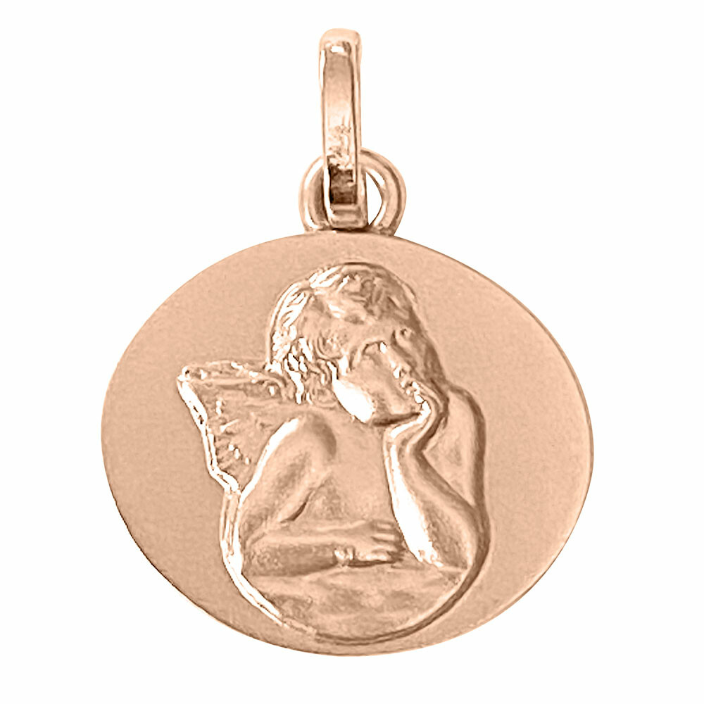 Photo de Médaille Ange ovale - Or rose 18ct