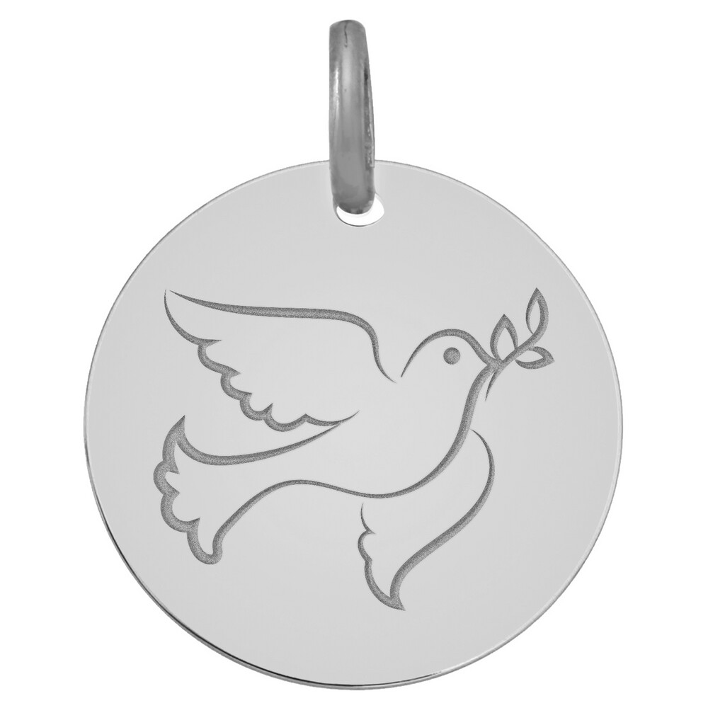Photo de Médaille Colombe - Or blanc 9ct